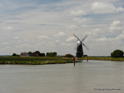 The view from the Berney Arms across the River Yare to the windmill